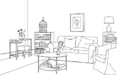Classic and Elegant Living Room Vector Line Art Illustration. For many purpose such as put on architecture and interior magazine, blog, book, website, adult Royalty Free Stock Image