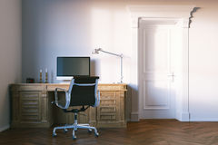 Classic elegant office cabinet with closed wooden door. 3d rende Royalty Free Stock Photo