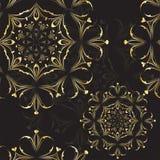 Classic elegant pattern mandala, gold black texture. Vector illustration Stock Photography