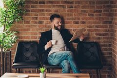 Classic elegant stylish smart clever handsome attractive bearded royalty free stock photos