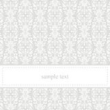 Classic elegant vector grey card or invitation. Classic, elegant vector card or invitation for party, birthday or wedding with white lace. Cute background with Stock Photo