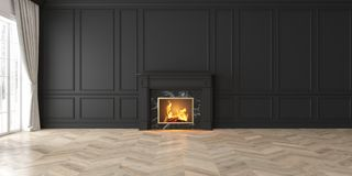 Classic empty black interior with fireplace, curtain, window, wall panels. 3D render, illustration, mockup wide picture vector illustration