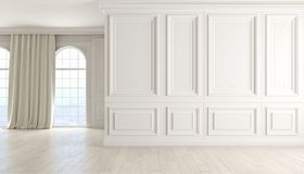 Classic empty interior with white wall, wood floor, window and curtain. 3D render illustration stock illustration