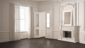 Classic empty room with big window, fireplace and herringbone wo. Oden parquet floor, vintage white and gray interior design Royalty Free Stock Photo