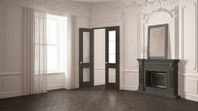 Classic empty room with big window, fireplace and herringbone wo. Oden parquet floor, vintage white and gray interior design Stock Photography