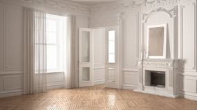 Classic empty room with big window, fireplace and herringbone wo. Oden parquet floor, vintage white interior design Royalty Free Stock Photography