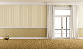 Classic empty room with closed window Stock Images