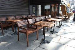 Classic empty street cafe in Paris Stock Photo