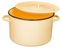 Classic enamel stockpot with slightly ajar cover Stock Photography