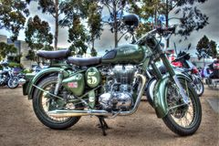 Classic English built Royal Enfield motorcycle Stock Image