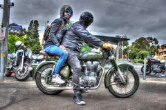 Classic English built Royal Enfield motorcycle Royalty Free Stock Photo