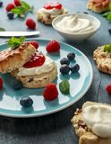 Classic English scones with clotted cream, strawberries jam and other fruit stock images
