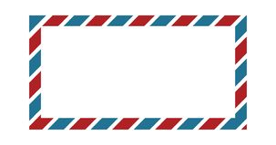 Classic envelope border with red and blue colors for greeting card design, wallpaper border, background frame, or wedding invitati stock illustration