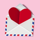 Classic envelope with red heart paper valentine card inside Stock Photo