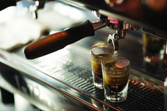Classic espresso machine detail with coffee cups Stock Photos