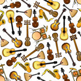 Classic, ethnic music instruments seamless pattern. Seamless cartoon drums, violins and saxophones, acoustic and electric guitars, indian sarods and russian Royalty Free Stock Photo