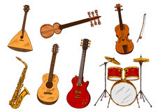 Classic and ethnic musical instruments Stock Photography