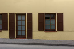 Classic European building with shutters. Classic restored European building with shutters Stock Photo