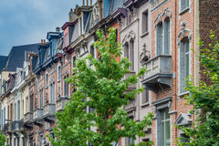 Classic european house fronts in the old part of Brussels Stock Image
