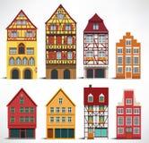 Classic European houses. Vector illustration of classic european historical houses Stock Photos