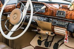 Classic European Mercedes oldtimer interior royalty free stock photography