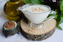 Classic European white sauce Bechamel Royalty Free Stock Image