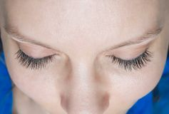Classic eyelash extensions. Eyelashes close up. Top view stock photography