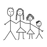 Classic family of four, child drawing Royalty Free Stock Photo