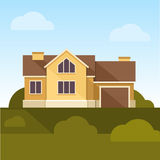 Classic Family Home. Flat Design Style. Vector Stock Image