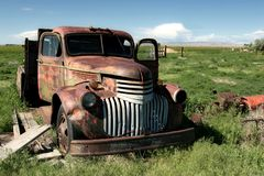 Classic farm truck. An old, abandoned farm truck... i believe a chevy '46 royalty free stock photos