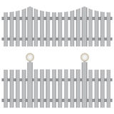 Classic fence. Two versions of the classic fence with lighting lamps. Vector illustration Stock Photos