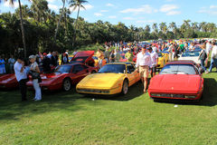 Classic Ferrari 328 sports car. Lined up in a row at public event at 2012 cavallino concorso deleganza at the breakers in west palm beach south florida Royalty Free Stock Photo