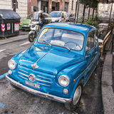Classic Fiat 600. ROME- January 07:Italian classic Fiat 600 on January 07 2014 in Rome Italy.The Fiat 600 Seicento is a city car produced by the Italian royalty free stock image