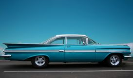Classic fifties coupe. A classic fifties american car with matchinf sky color and copy space for text Stock Image