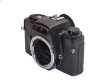 Classic film camera isolation on white. Classic film camera, left upper view, isolation on white background Stock Images