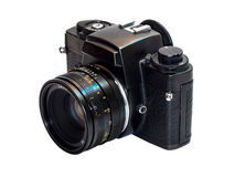 Classic film camera isolation on white. Classic old fashioned film camera isolation on white background Royalty Free Stock Photo