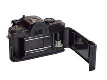 Classic film camera isolation on white. Classic film camera, ready for film load, isolation on white background Royalty Free Stock Photos