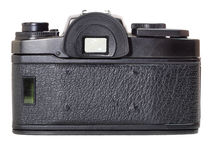 Classic film camera isolation on white. Classic film camera, rear view, isolation with reflection Royalty Free Stock Image
