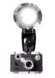 Classic Film Rangefinder Camera with Flash Firing Stock Photos