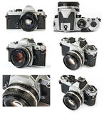 Classic film SLR camera collage Royalty Free Stock Photos