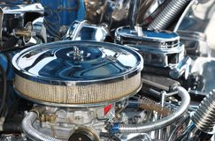 Classic filter. Classic car engine and chrome Royalty Free Stock Photo