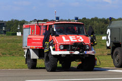 Classic fire engine. Classic red Unimog fire engine Royalty Free Stock Photos