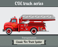 Classic fire truck ladder side view. Classic COE cab over engine fire truck ladder side view. Vector illustration clipart Stock Photos