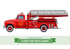 Classic fire truck ladder side view. Vector isolated illustration Royalty Free Stock Photos