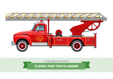 Classic fire truck ladder side view. Vector isolated illustration Stock Photos