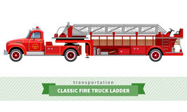 Classic fire truck ladder side view. Vector isolated illustration Royalty Free Stock Image