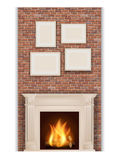 Classic fireplace. On brick wall background Stock Photos