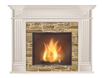 Classic fireplace with natural stone and furnace Stock Image