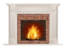 Classic fireplace with red brick and furnace Royalty Free Stock Photos