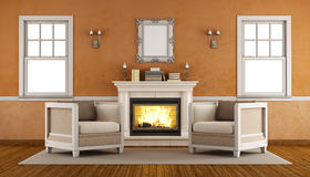 Classic fireplace in a retro living room Royalty Free Stock Photography